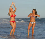 Bianca Gascoigne and Charlotte Mears enjoy the sun in bikini and poses for photographs on a beach in Marbella
